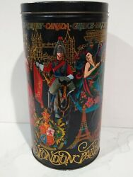 Colorful Cylindrical Embossed Tin That Displays Countries 13 X 6