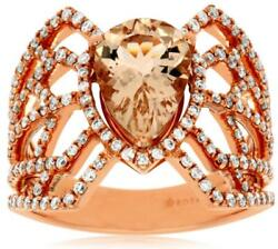 Large 2.19ct Diamond And Aaa Morganite 14kt Rose Gold Pear Shape And Round Fun Ring