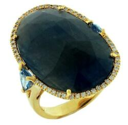 Large 20.20ct Diamond And Sapphire And Aaa Blue Blue Topaz 14kt Yellow Gold Fun Ring