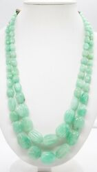 Aaa+ Natural Russian Green Emerald Carved Oval Nuggets Stone Beads 22 Necklace