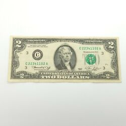 1976 Green Seal Two 2 Dollar Silver Certificate Bill Old Paper Money