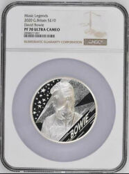 2020 Uk Music Legends - David Bowie £10 5oz Silver Proof Coin Ngc Pf70 Uc