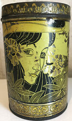 Antique Tin Tea Canco Canister Yellow Gold Tindeco Art Deco Kitchen Container