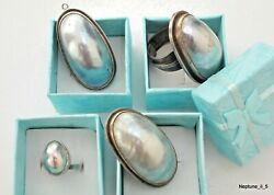Vintage-jewelry Set-silver-mother Of Pearl-pendant-ring -israel-judaica-1950's