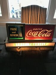 Vintage Coca Cola Fountain Shop Light Up Rare Waterfalls Pause And Refresh Sign