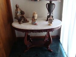 Marble Top Oval Table Antique Unique Solid Wood Excellent Condition 35x29 Inches