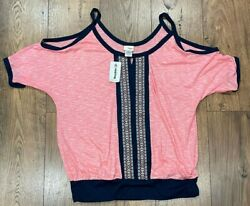 Daytrip Aztec Embroidered Top Cold Shoulder women#x27;s Size Large Coral $19.99