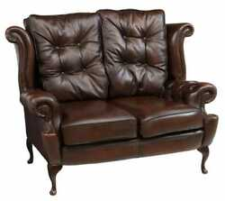 Loveseat Queen Anne Style Brown Leather Wingback English See Matching