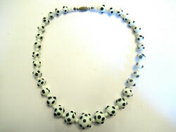 Vintage 1940and039s Black And White Polka Dot Glass Bead Choker Necklace 16