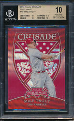 2018 Panini Crusade Ruby Wave 19 Mike Trout Bgs 10