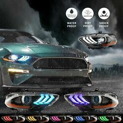 Vland Led Rgb Headlights For 18-20 Ford Mustang Drl Projectors Multi-color Lamps