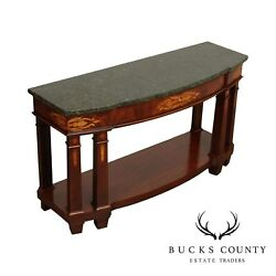Henredon Empire Style Inlaid Mahogany Marble Top Sideboard Console