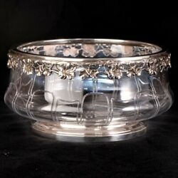 Antique French Sterling Silver Crystal Salad Fruit Serving Bowl Dish Centerpiece