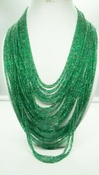 Aaa+ Best Quality Natural Zambian Emerald Faceted 3-7 Mm Rondelle Bead Necklace