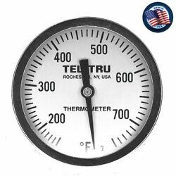 Tel Tru Ut300 Bbq Grill And Smoker Thermometer 3 Dial 2.5 Stem 150-750 Gauge