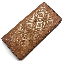 Hand Tooled Leather Wallet Billfold Checkbook Pocket Coin Purse Travel Organizer