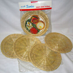 Set Of 8 Vintage Bamboo Paper Plate Holders - Wicker Rattan Picnic Camping