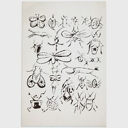 Andy Warhol Rare Vintage 1954 Original Happy Bug Day Offset Lithograph