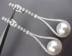 Large .92ct Diamond And South Sea Pearl 18kt White Gold Tear Drop Hanging Earrings