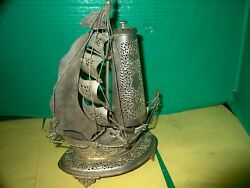 Vintage Silver Plate Hand Made Footed Sail Ship Lamp Light W/ European Socket