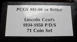 1934-1958 Pds Gem Lincoln Wheat Cents All Graded By Pcgs Ms66 Red 71 Coin Set