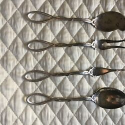 Sterling Set 4 Pieces Serving Pieces Twisted Open Handles Each About 5 Inches