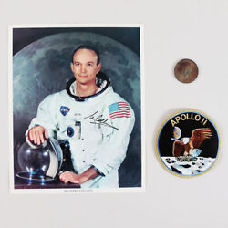 Michael Collins Signed 8andtimes10 Photo Nasa Astronaut With Apollo Ii Patch And Medal...