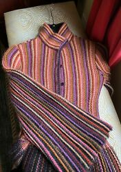 Missoni Multi Color Knit Sweater Coat/bell Sleeves Size 44