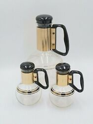 Vintage Pyrex Coffee And Syrup Carafe Set Retro Diner Flask Style With Gold Tone