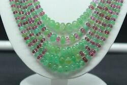 Aaa+ Good Quality Natural Emerald And Rubellite 3-9 Mm Rondelle Bead 22 Necklace