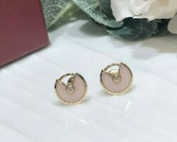 Auth Xs Amulette De Earrings 18k Rosegold Pink Carved Opal Round Diamond