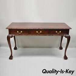 Chippendale Mahogany 3 Drawer Ball And Claw Rope Carved Console Sofa Hall Table