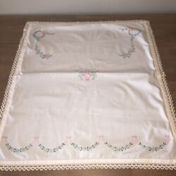 Vintage Embroidered Tablecloth Topper 25x29quot; Flower Basket White Cotton Lined