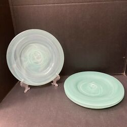 Pier 1 Alabaster Glass Dinner Plates Turquoise Swirl 10 3/4 Lot Of 4