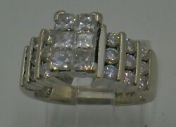 14kt White Gold Engagement Ring Size 5.75 8.8 Grams 27 Diamonds Total 1.25 Car