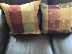 """Lot Of 2 Sofa Throw Home Decor Pillows Size 18"""" Square Large Green Gold Burgundy"""