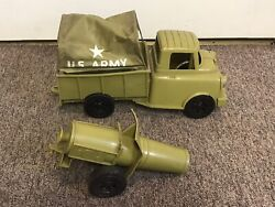 Vintage 1950s Ideal Army Truck Toy Plastic W/ Cannon And Canopy Rare Super Nice