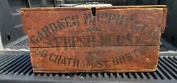 19th C BIG WOOD EGG CRATE BOX GARDNER MURPHY BOSTON in RED PAINT CHATHAM St.