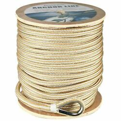 1/2 X600and039 Double Braid Nylon Anchor Line Rope Dock Line With Thimble-white/gold