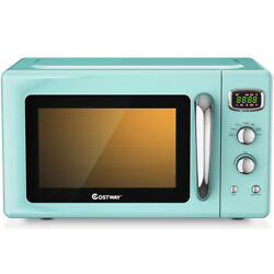 Costway 0.9cu.ft. Retro Countertop Microwave Oven 900w 8 Cooking Settings Green