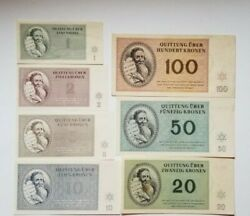 Czech Concentration Camp Currency Full Set Theresienstadt Kronen Original 1943