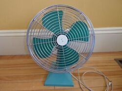 Vtg 50s 60s Superior Table Top Electric Fan Turquoise Retro