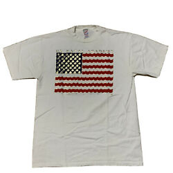 Rare Annapolis Us Naval Academy Tee Size L White Usa Flag Jerzees Cotton Russell