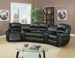 Reclining 5pc Motion Sectional Home Theatre Sofa Couch Console Cup Holder Black