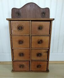 Vintage 8 Drawer Wood Spice Cabinet Wall Mount Apothecary Primitive Handcrafted
