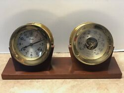 Boston Shipstrike Chelsea Ship's Clock And Barometer On Stand
