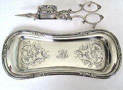 Superb Victorian 1851 Rare Matching Sterling Silver Candle Snuffer And Tray