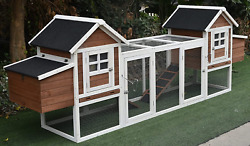 123 Large Solid Wood Chicken Coop Backyard Hen House 5-6 Chickens Nest