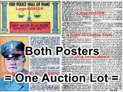 Police Chief Walter G. Gallagher 1949 New Jersey = 2 Posters Comic Book 18-3 Ft