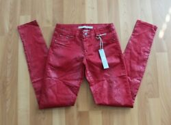 Tractor Women's Juniors Sz 27 Red Snakeskin Skinny Jeans Pants Jeggings Nwt New